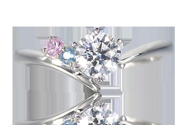婚約指輪 3つの宝石
